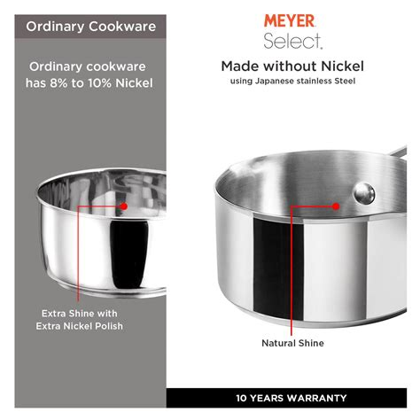 meyer stainless select steel saucepan 16cm straining pots induction compatible gas