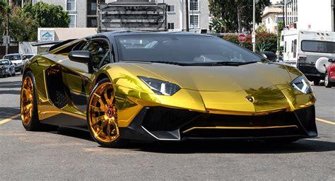 lamborghini aventador sv roadster gold brown s aventador sv roadster shines with gold chrome wrap forgiato wheels carscoops