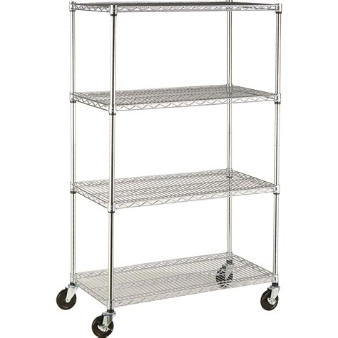 Trinity 4 Tier Nsf Wire Shelving Rack With Casters 36in