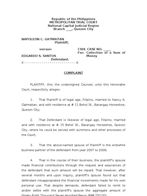 For Collection of Sum of Money | Lawsuit | Pleading