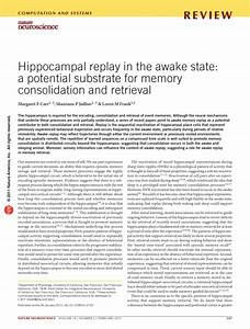 Hippocampal replay in the awake state: A... (PDF Download ...