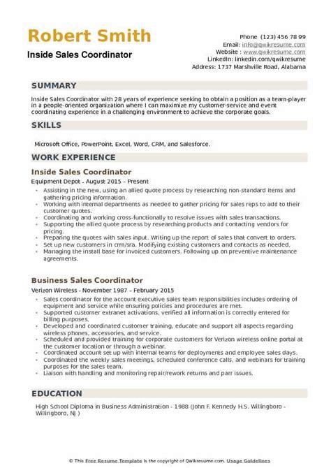 Sales Coordinator Resume by Inside Sales Coordinator Resume Sles Qwikresume