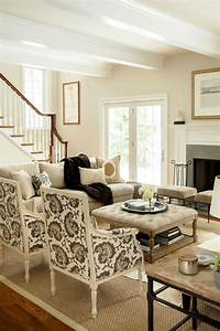 family room furniture Neutral living room, hip traditional, large scale print on ...
