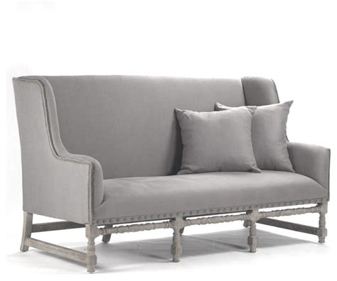 Dining Loveseat by Ausbert Country Grey Linen Dining Bench Sofa