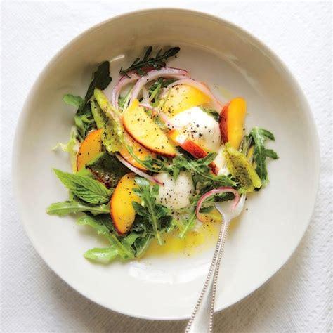 pickled nectarine salad  burrata recipe epicuriouscom