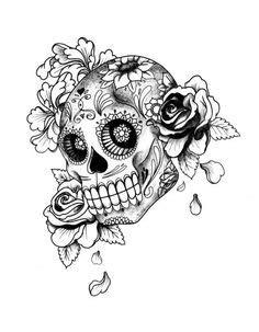 Sexy Day Of The Dead Skulls Tattoo Stencils