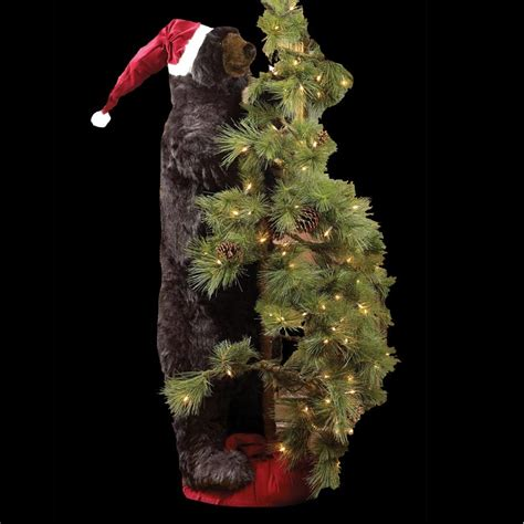 high mountain black tree bear  santa hat christmas