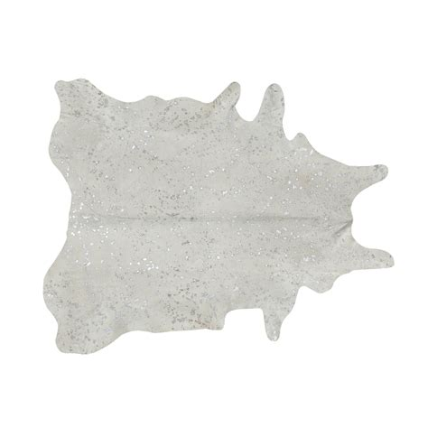 Cowhide Pattern Rug by Southwest Rugs Devore Metallic White With Silver Small