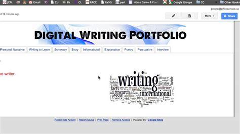 google sites templates  student portfolios  projects