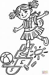 Hopscotch Playing Colorir Brincando Children Kleurplaat Amarelinha Menina Che Bambini Coloring Ragazza Gioca Desenho Clipart Dziewczyny Klasy Kolorowanki Colorare Dziewczynka sketch template