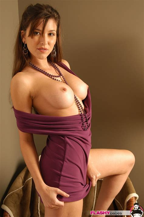 Leeann The Marvelous Brunette In A Sexy Dress Shows Off