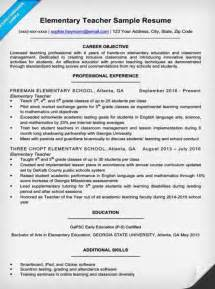 exles of teachers resume elementary resume sle writing tips resume companion