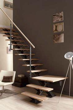 escalier moderne tout metallique metal bois limon