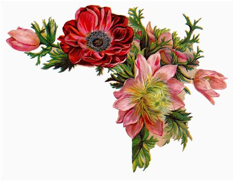 design of flower antique images free digital flower images of corner design with red and pink flowers