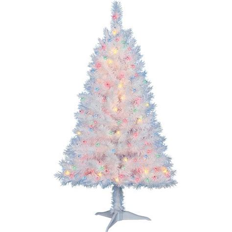 4 foot white christmas tree 4 ft pre lit multi color white indiana spruce artificial tree by time