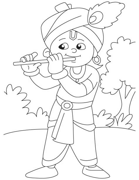 krishna   magical flute coloring pages krishna