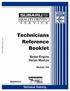 Technicians Reference Booklet Subaru Boxer Engine Series