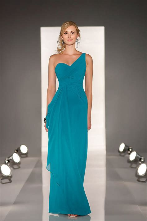 Cheap One shoulder Floor length A Line Chiffon Teal