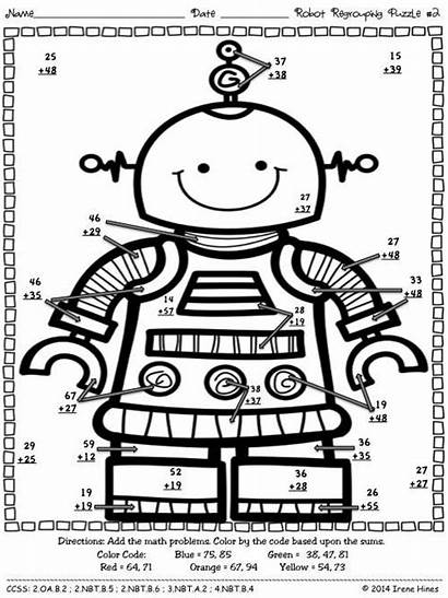 Addition Math Robot Puzzles Coloring Regrouping Code