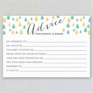 advice cards for the and groom baby shower advice cards pack of eight by intwine design