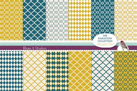 harlequin quatrefoil digital paper patterns