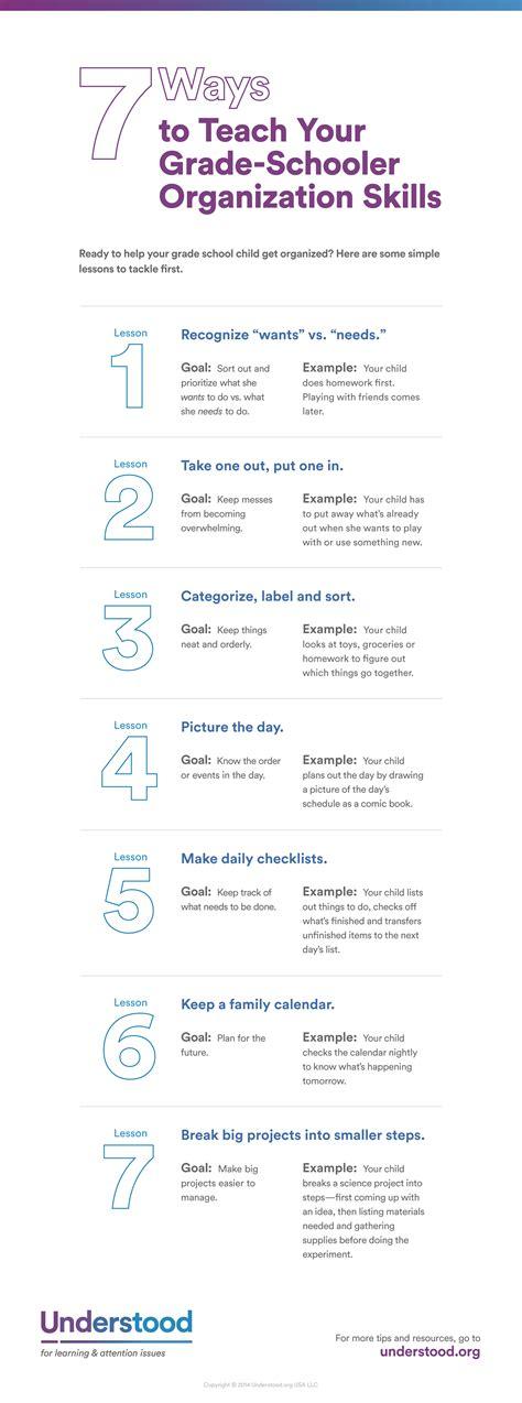 teach children organization skills infographic