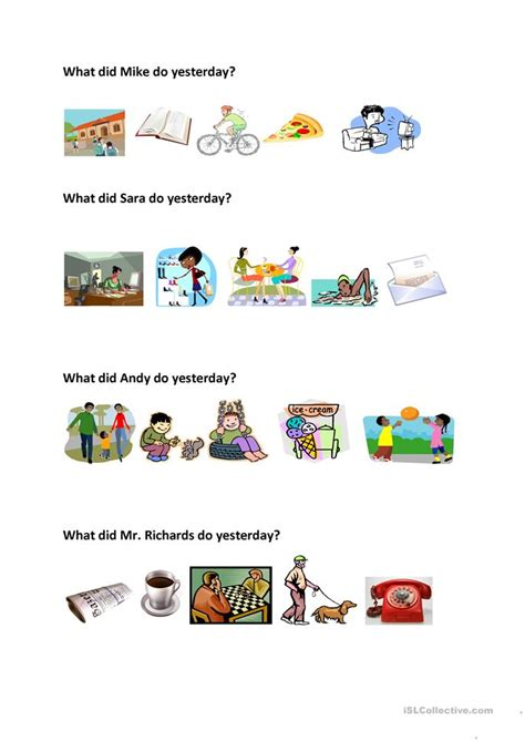 What Did They Do Yesterday? Worksheet  Free Esl Printable Worksheets Made By Teachers