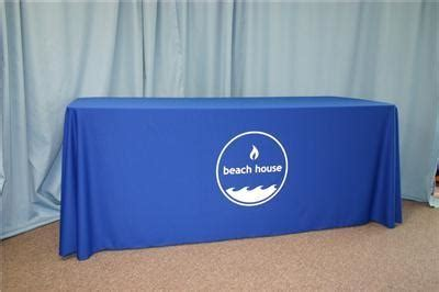Table Drape With Logo - conference trade show dj tablecloth custom logo table