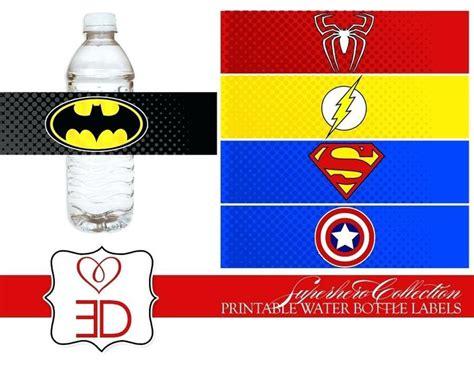 super hero water bottles  printable superhero water