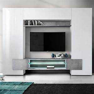 Meuble Tv Mur : meuble mural tv blanc laqu et effet b ton sofamobili ~ Teatrodelosmanantiales.com Idées de Décoration