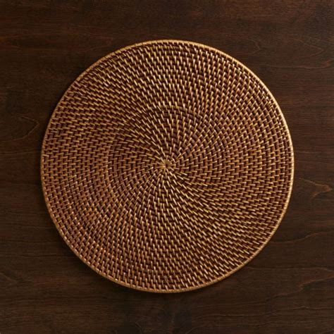 Artesia Round Rattan Honey Placemat + Reviews | Crate and