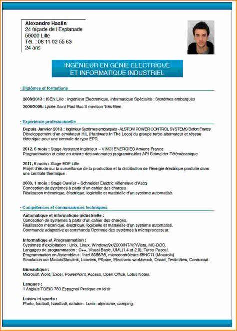Un Resume In by Comment Faire Un Cv Pour Un Stage Exemple Lettres