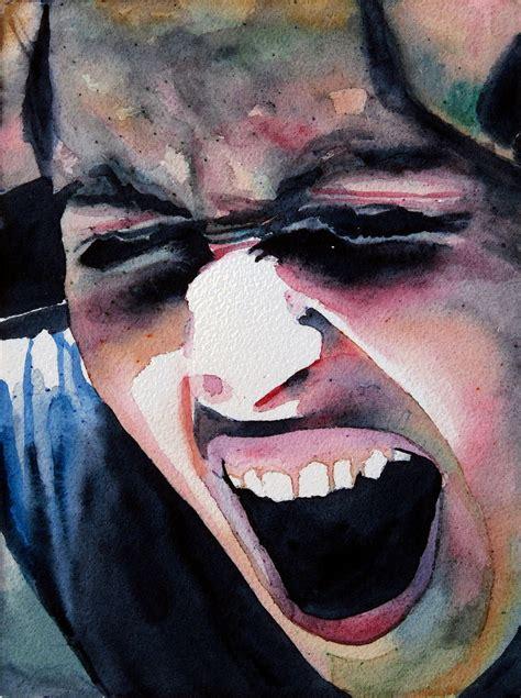 schrei der verzweiflung angst aquarellmalerei portrait