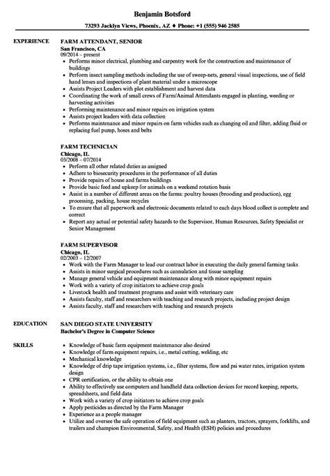 Farmer Resume by Farm Resume Sles Velvet