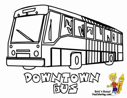 Bus Coloring Pages Transportation Drawing Line Downtown