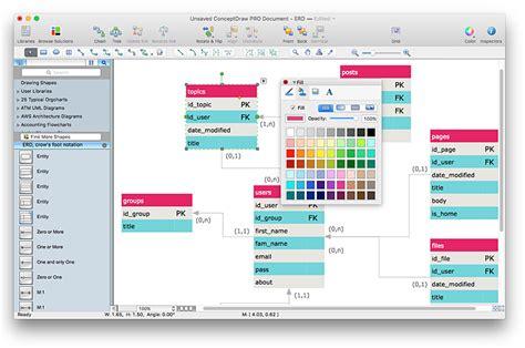 creating erd diagram conceptdraw helpdesk