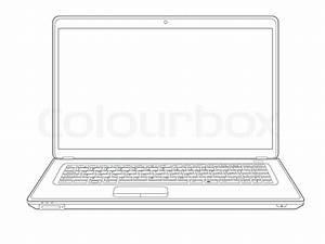 Laptop computer notebook outline vector | Stock Vector ...