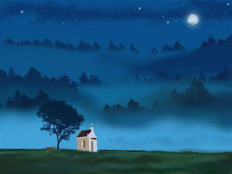 photo landscape moon blue light night