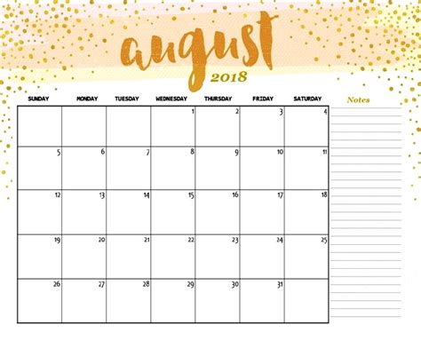 august  printable calendars  notes  write