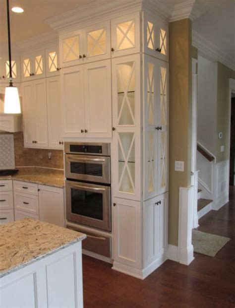 Kitchen Cupboard Tops by White Narrow Cabinets Top Lit Glass Doors Light