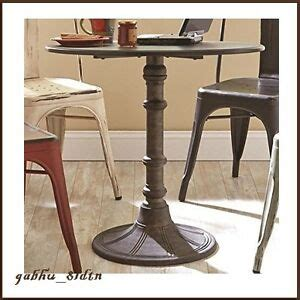 industrial distressed bronze  wood bistro table metal