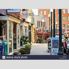 Shops And Restaurants Along Wall Street In Asheville