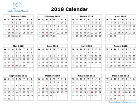 excel 2018 yearly calendar 2018 calendar excel template