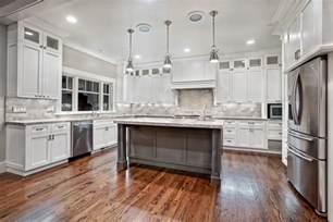 kitchen wood flooring ideas awesome varnished wood flooring in white kitchen themed feat antique white cabinets design also