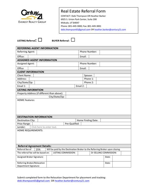real estate referral form templates