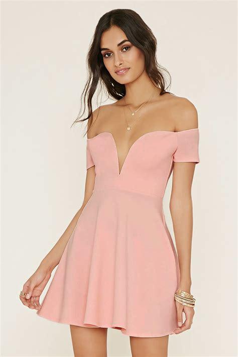 light pink dress forever 21 lyst forever 21 the shoulder dress in pink