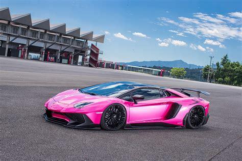 Hot Pink Lamborghini Aventador SV Gets Liberty Walk Kit