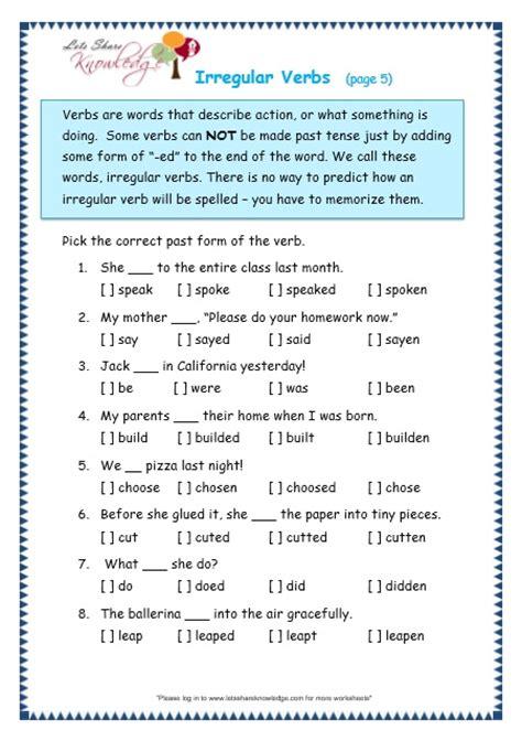 Grade 3 Grammar Topic 39 Irregular Verbs Worksheets