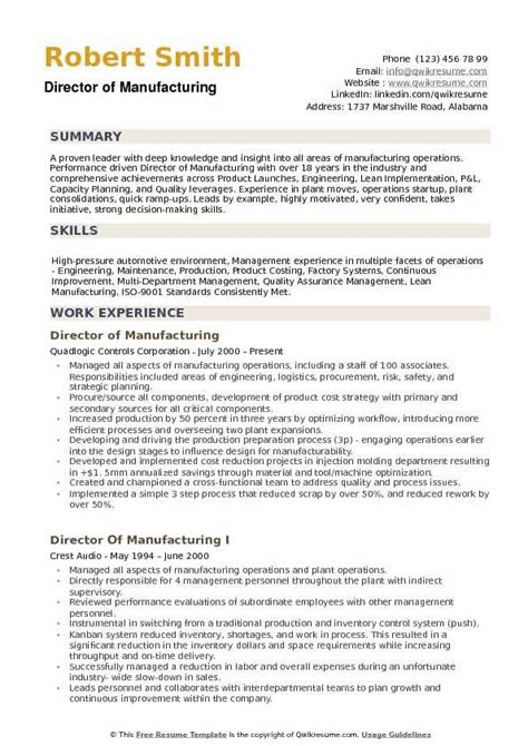 Manufacturing Resume by Director Of Manufacturing Resume Sles Qwikresume