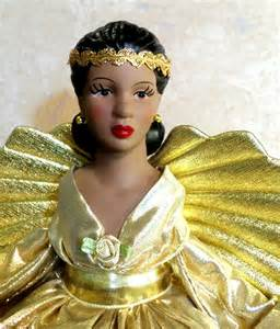 black angel christmas tree topper african american porcelain